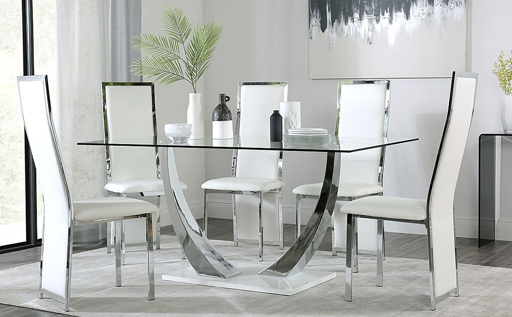 Peake Glass and Chrome Dining Table (White Gloss Base) with 4 Celeste White Leather Chairs