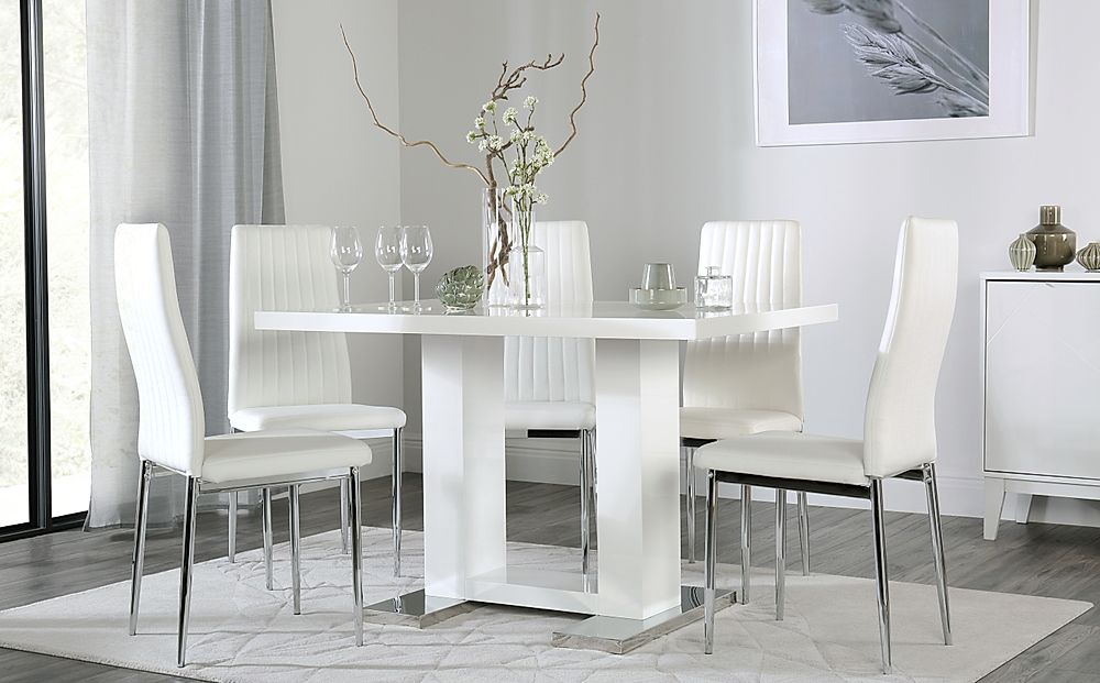 Joule White High Gloss Dining Table with 6 Leon White Chairs