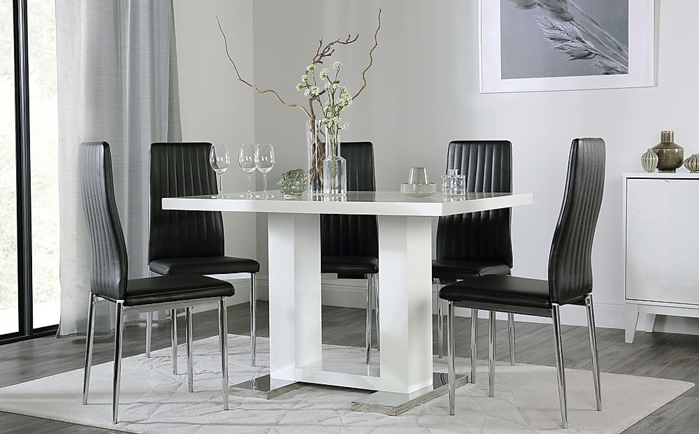 Joule White High Gloss Dining Table with 6 Leon Black Chairs