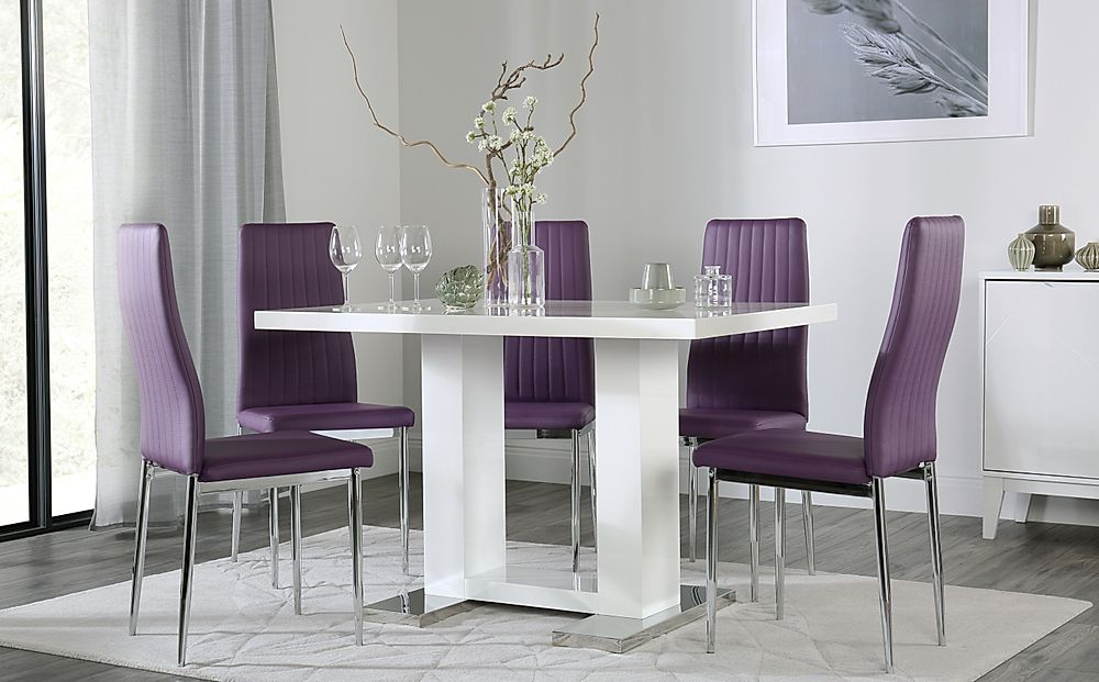 Joule White High Gloss Dining Table with 6 Leon Purple Chairs