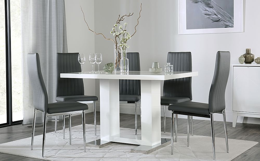 Joule White High Gloss Dining Table with 6 Leon Grey Leather Chairs