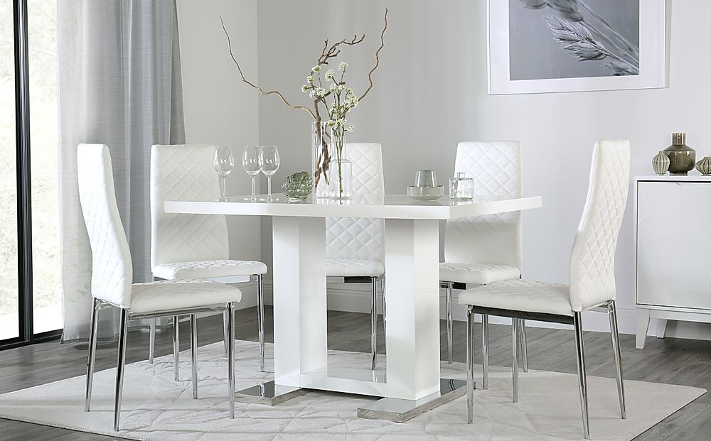 Joule White High Gloss Dining Table with 6 Renzo White Chairs