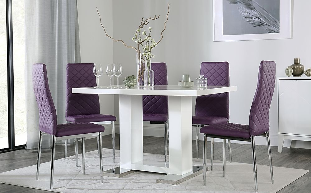 Joule White High Gloss Dining Table with 4 Renzo Purple Chairs