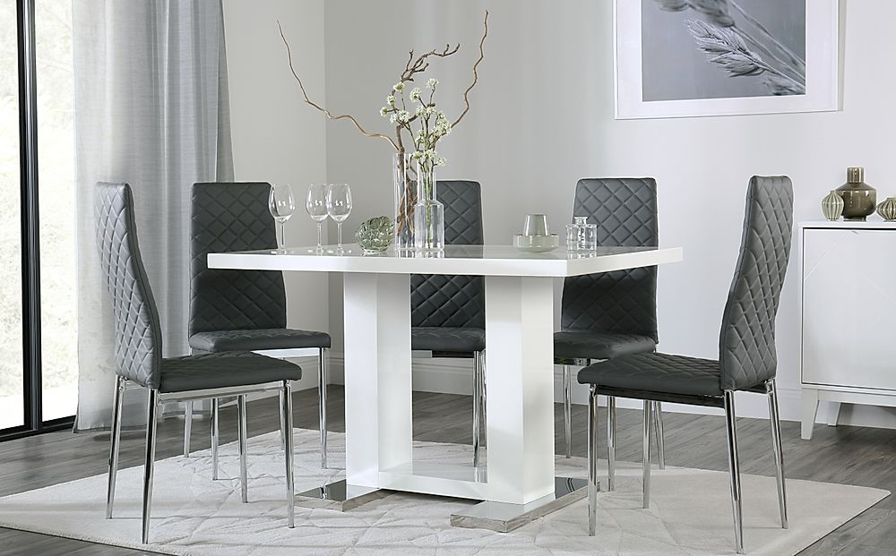 Joule White High Gloss Dining Table with 6 Renzo Grey Chairs