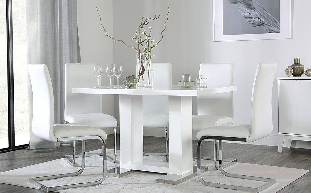 Joule White High Gloss Dining Table with 6 Perth White Leather Chairs