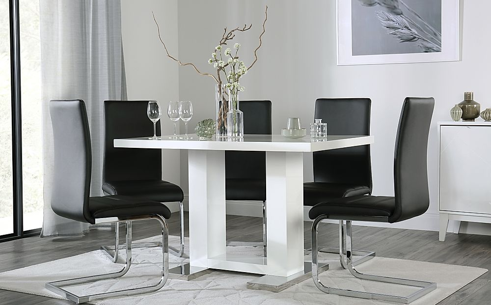 Joule White High Gloss Dining Table with 6 Perth Black Leather Chairs