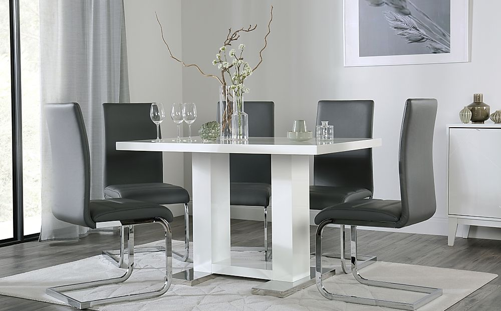 Joule White High Gloss Dining Table with 6 Perth Grey Leather Chairs