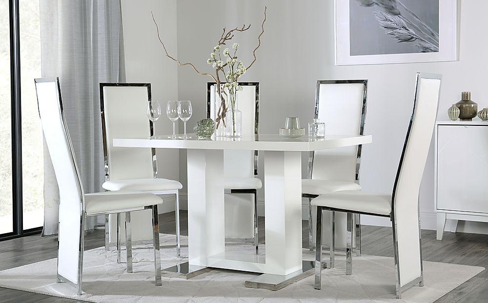Joule White High Gloss Dining Table with 4 Celeste White Leather Chairs