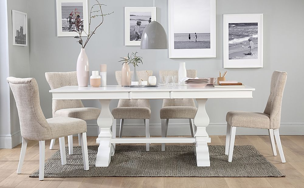 Cavendish White Extending Dining Table with 8 Bewley Oatmeal Chairs