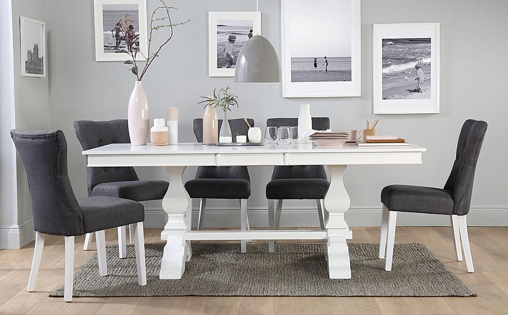 Cavendish White Extending Dining Table with 6 Bewley Slate Chairs