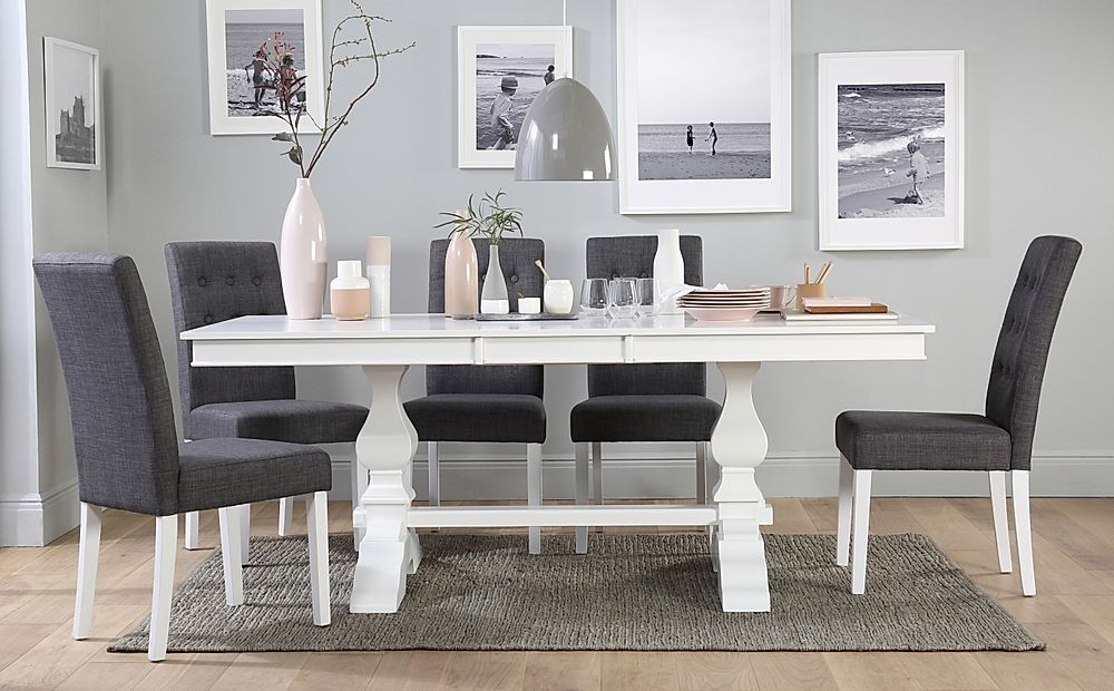 Cavendish White Extending Dining Table with 6 Regent Slate Fabric Chairs
