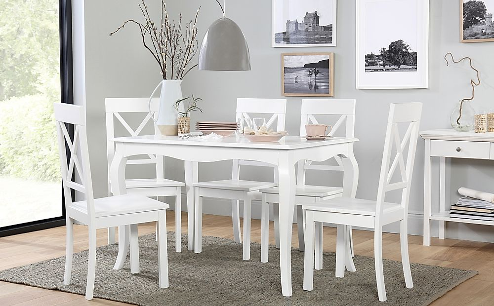 Clarendon White Dining Table with 4 Kendal Chairs