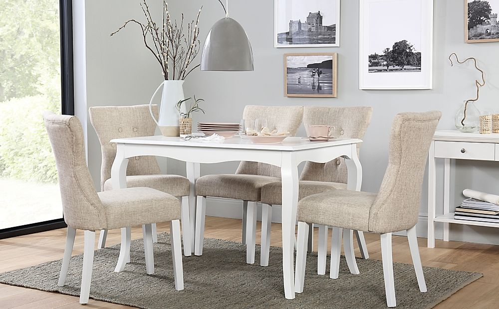 Clarendon White Dining Table with 6 Bewley Oatmeal Chairs