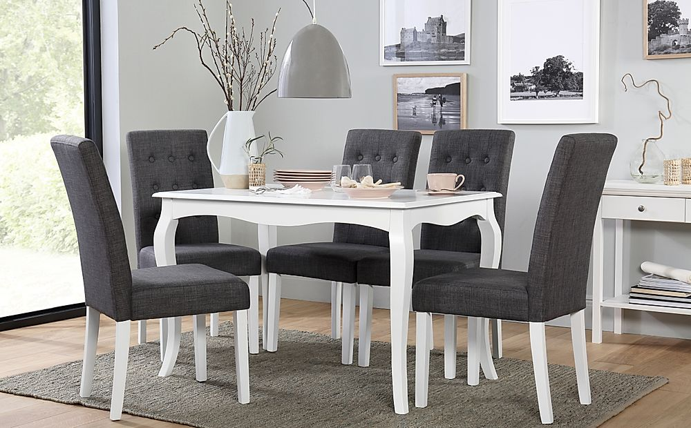 Clarendon White Dining Table with 6 Regent Slate Fabric Chairs
