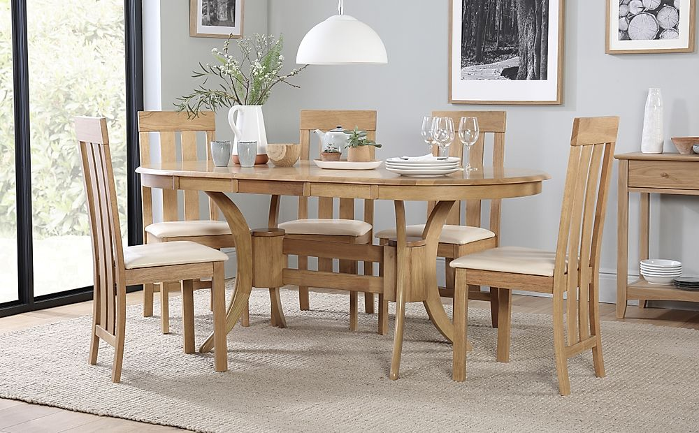 Townhouse Oval Oak Extending Dining Table with 6 Chester Chairs (Ivory Leather Seat Pads)