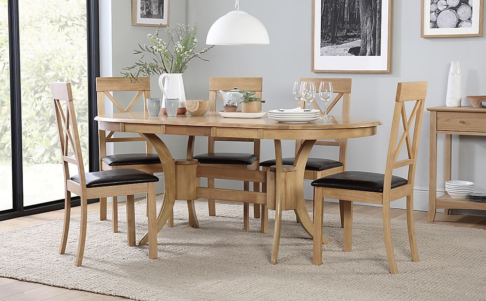 Townhouse Oval Oak Extending Dining Table with 6 Kendal Chairs (Brown Seat Pad)