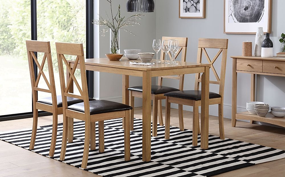 Milton Oak Dining Table with 6 Kendal Chairs (Brown Leather Seat Pads)