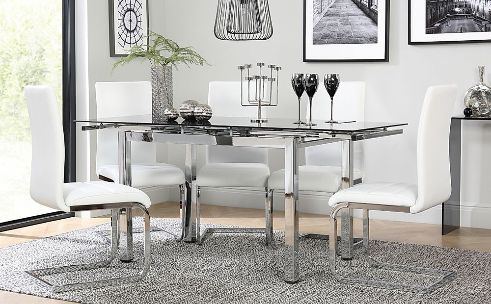 Space Chrome and Black Glass Extending Dining Table with 6 Perth White Leather Chairs