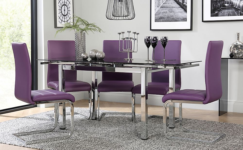 Space Chrome and Black Glass Extending Dining Table with 4 Perth Purple Leather Chairs