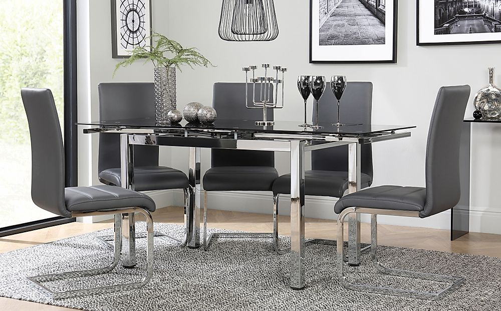 Space Chrome and Black Glass Extending Dining Table with 6 Perth Grey Leather Chairs