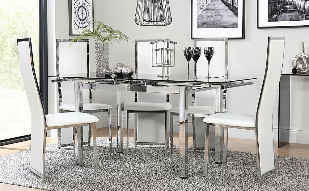 Space Chrome and Black Glass Extending Dining Table with 4 Celeste White Leather Chairs