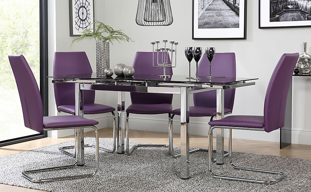 Space Chrome & Black Glass Extending Dining Table with 6 Pica Purple Chairs