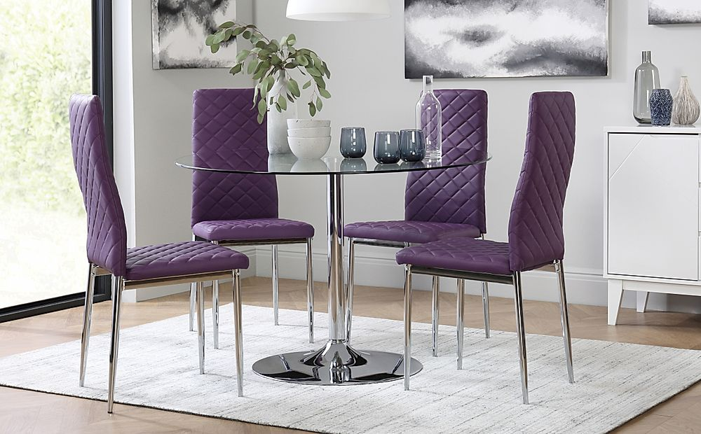 Orbit Round Glass & Chrome Dining Table with 4 Renzo Purple Chairs