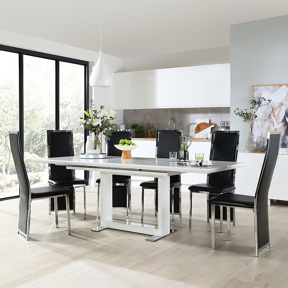 Tokyo White High Gloss Extending Dining Table with 8 Celeste Black Chairs
