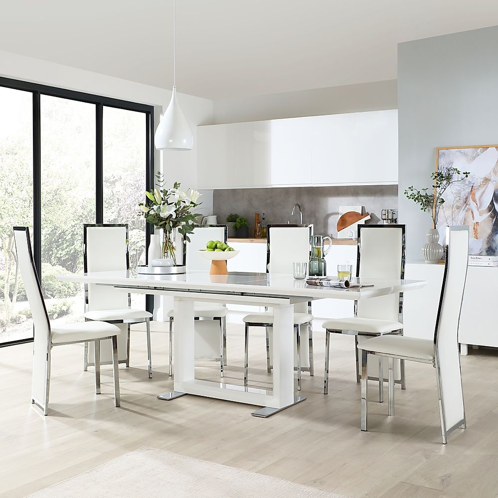 Tokyo White High Gloss Extending Dining Table with 6 Celeste White Chairs