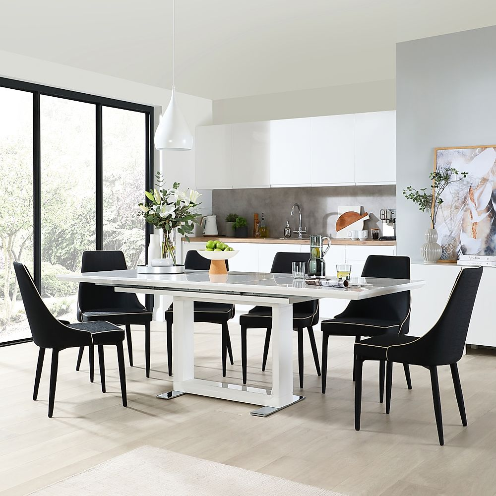 Tokyo White High Gloss Extending Dining Table with 6 Modena Black Fabric Chairs