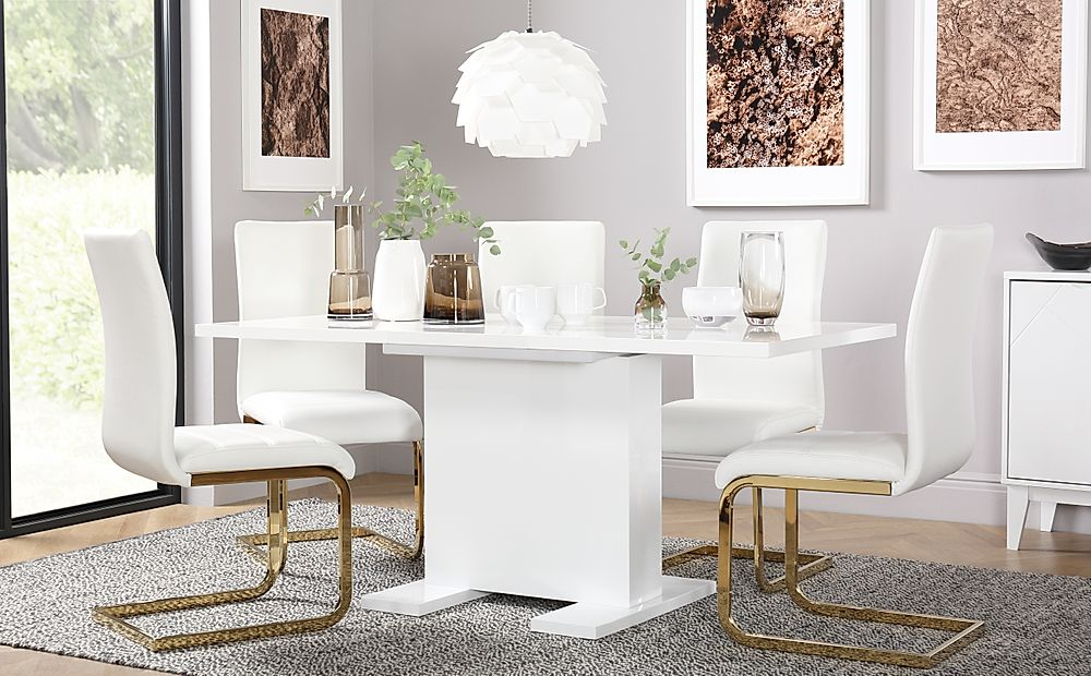Osaka White High Gloss Extending Dining Table with 4 Perth White Chairs (Gold Legs)