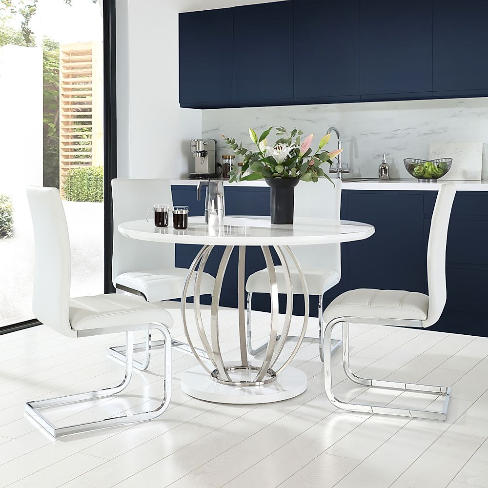Savoy Round White High Gloss and Chrome Dining Table with 4 Perth White Leather Chairs