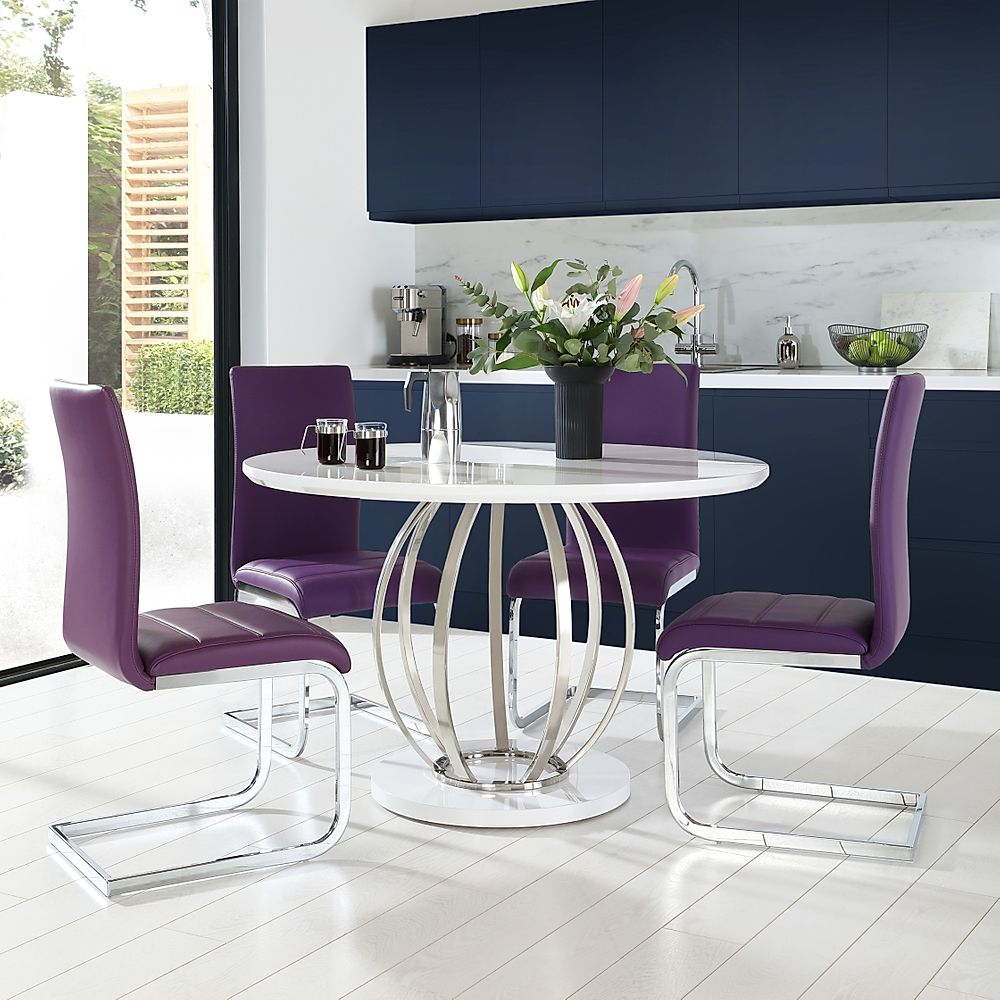 Savoy Round White High Gloss and Chrome Dining Table with 4 Perth Purple Leather Chairs