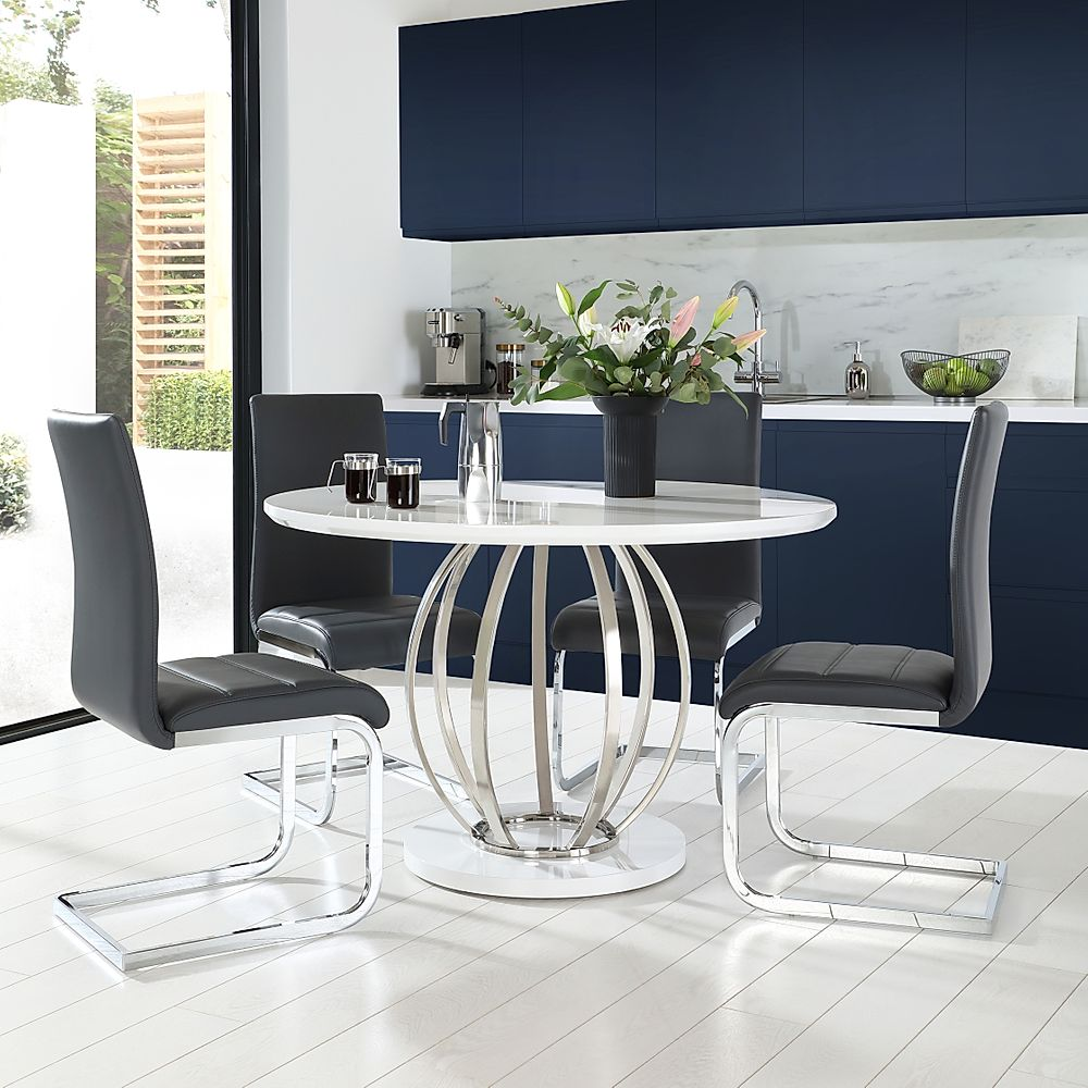 Savoy Round White High Gloss and Chrome Dining Table with 4 Perth Grey Chairs