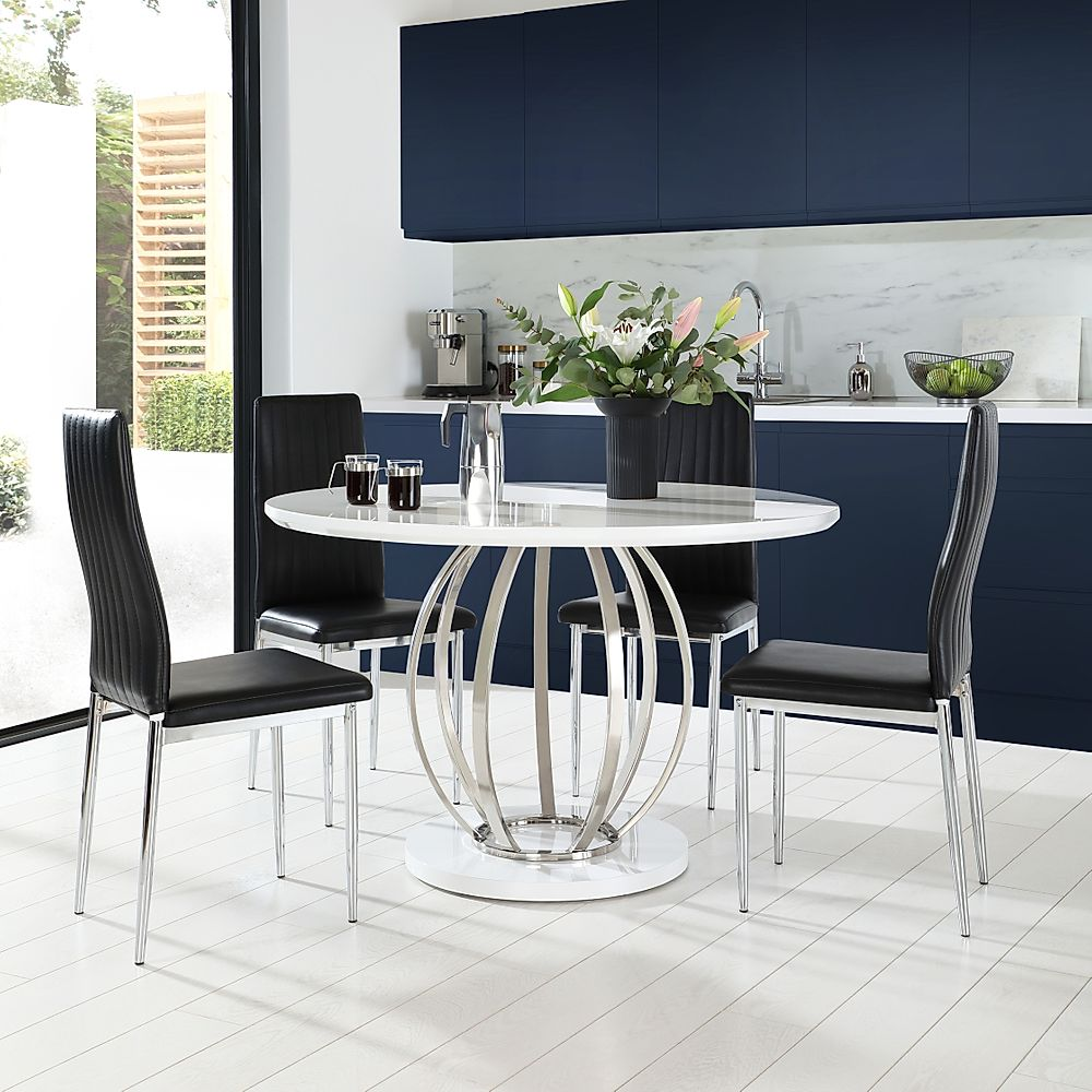 Savoy Round White High Gloss and Chrome Dining Table with 4 Leon Black Leather Chairs