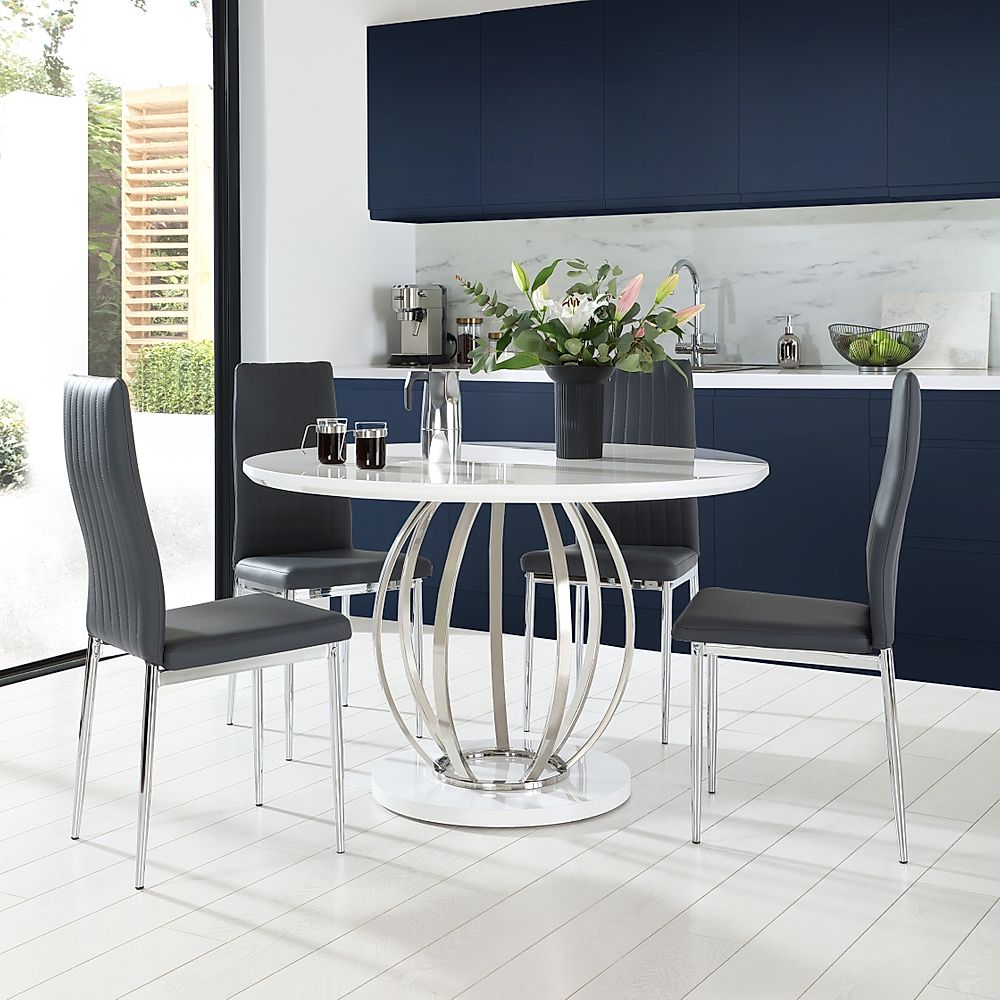 Savoy Round White High Gloss and Chrome Dining Table with 4 Leon Grey Chairs