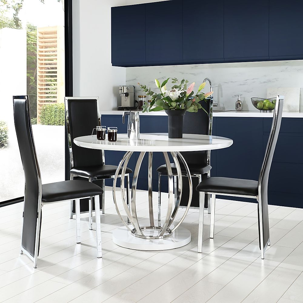 Savoy Round White High Gloss and Chrome Dining Table with 4 Celeste Black Leather Chairs