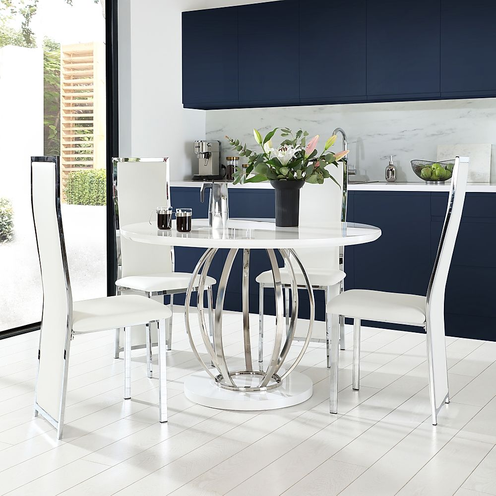 Savoy Round White High Gloss and Chrome Dining Table with 4 Celeste White Leather Chairs