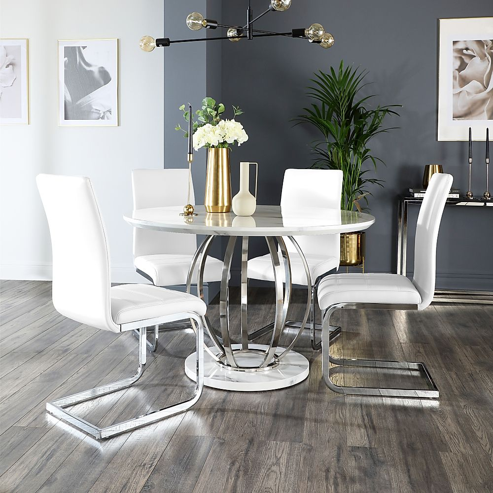Savoy Round White Marble and Chrome Dining Table with 4 Perth White Leather Chairs