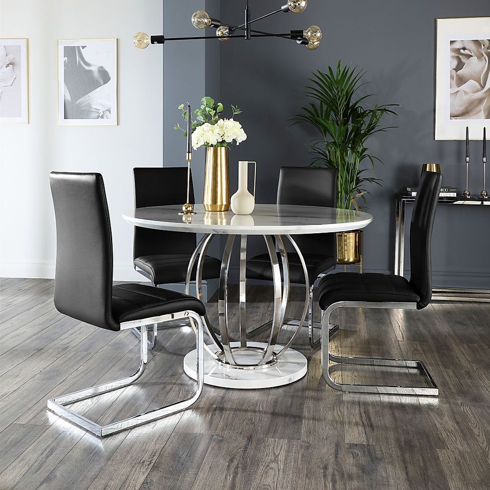 Savoy Round White Marble and Chrome Dining Table with 4 Perth Black Leather Chairs