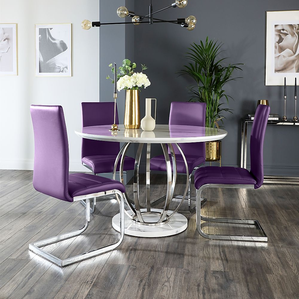 Savoy Round White Marble and Chrome Dining Table with 4 Perth Purple Chairs