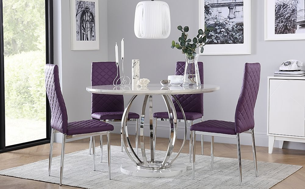 Savoy Round White Marble and Chrome Dining Table with 4 Renzo Purple Chairs