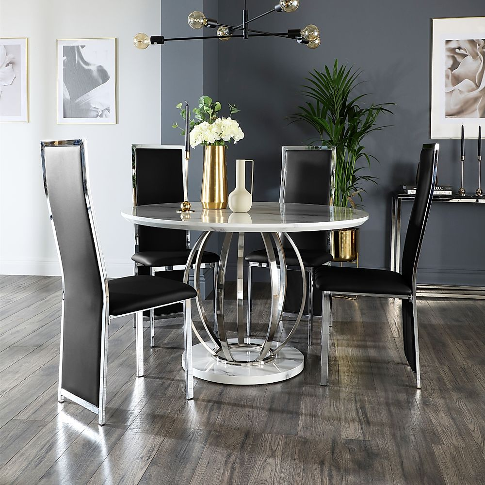 Savoy Round White Marble and Chrome Dining Table with 4 Celeste Black Chairs