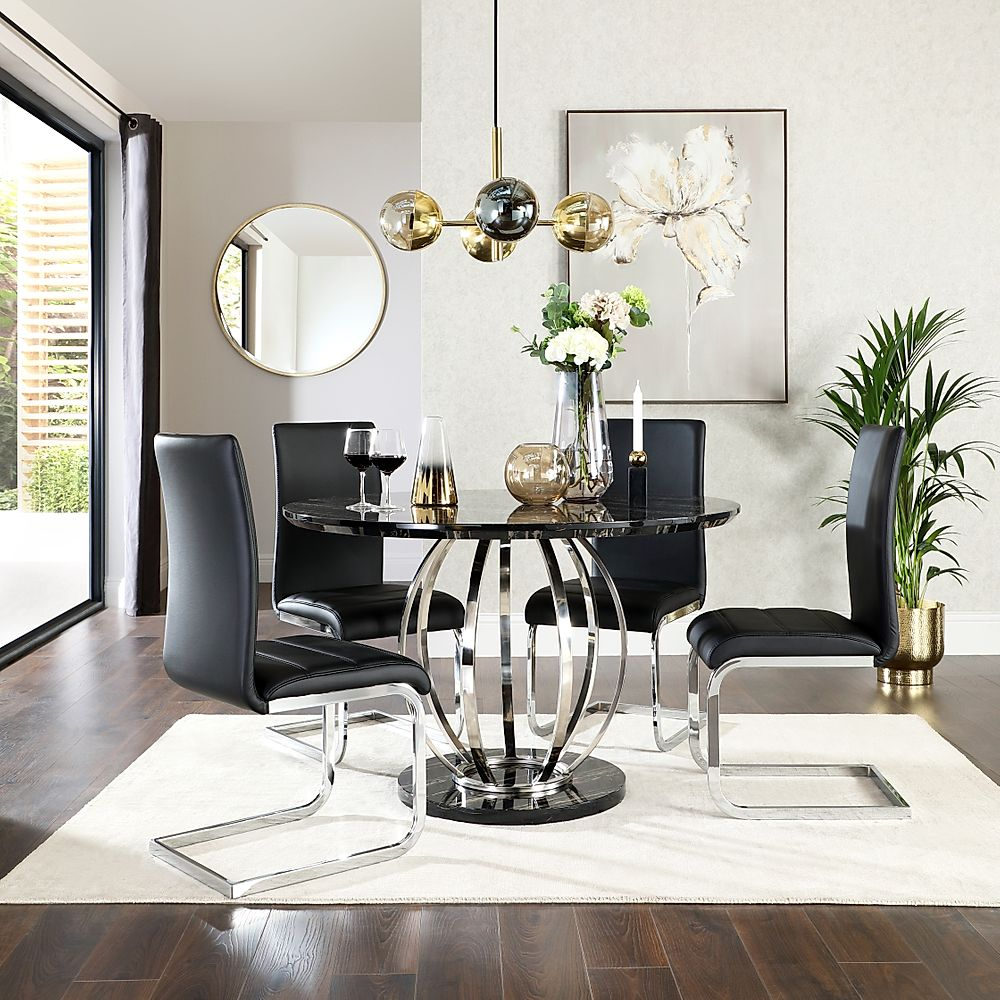 Savoy Round Black Marble and Chrome Dining Table with 4 Perth Black Leather Chairs