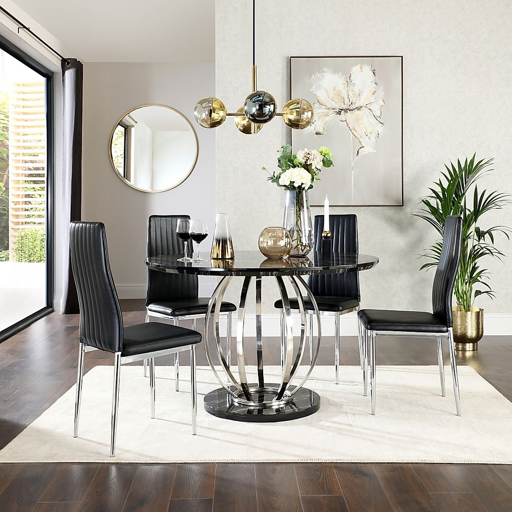 Savoy Round Black Marble and Chrome Dining Table with 4 Leon Black Chairs
