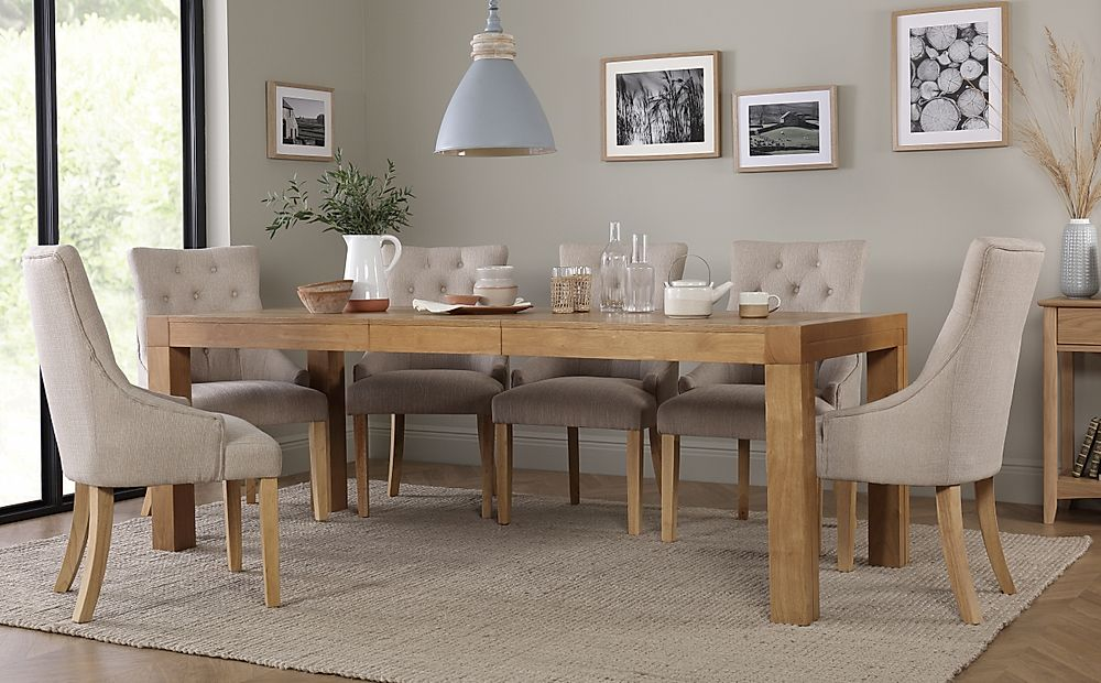 Cambridge 175-220cm Oak Extending Dining Table with 8 Duke Oatmeal Chairs