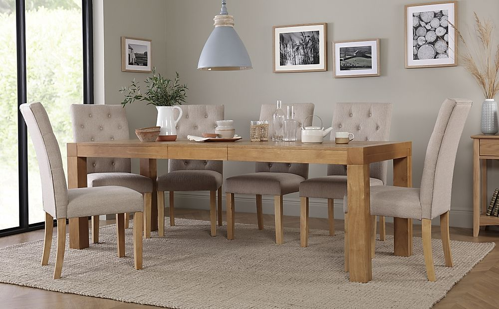 Cambridge Oak Extending Dining Table with 6 Hatfield Oatmeal Chairs