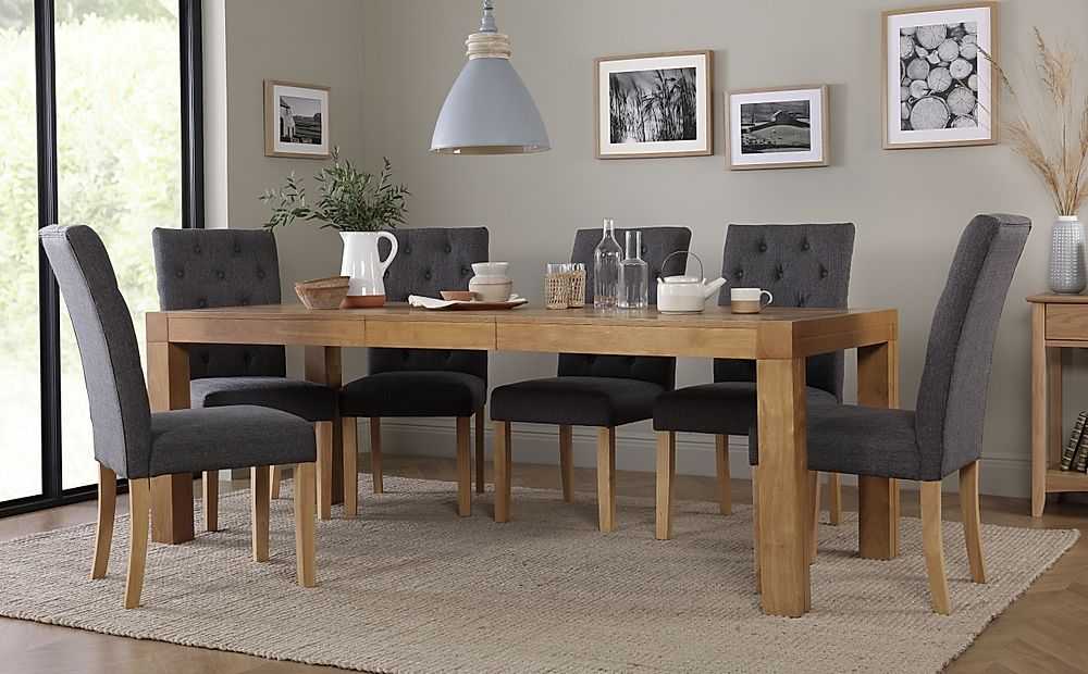 Cambridge Oak 175-220cm Extending Dining Table with 8 Hatfield Slate Fabric Chairs