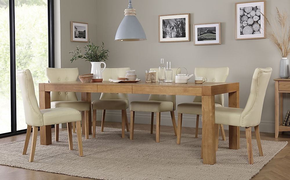 Cambridge 175-220cm Oak Extending Dining Table with 8 Bewley Ivory Leather Chairs