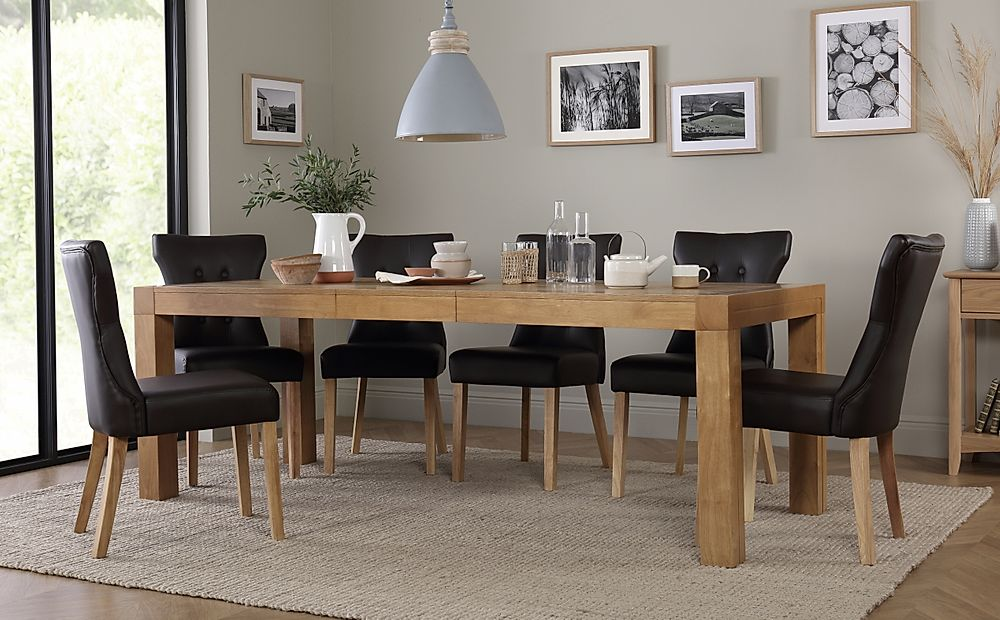 Cambridge Oak Extending Dining Table with 8 Bewley Brown Chairs